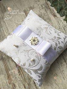 Prstene - Svadobný vankúšik Silver - white - 7963916_