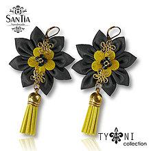 Náušnice - Náušnice: Kvety so strapcom (Sivo-žlto-zlaté) - 7965351_
