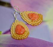 Náušnice - Náušnice s oranžovým koralom - 7966733_