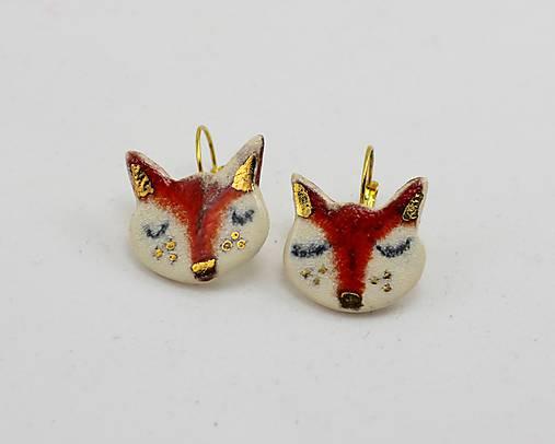 Náušnice - Naušničky -líštičky  keramika/zlato - 7969885_