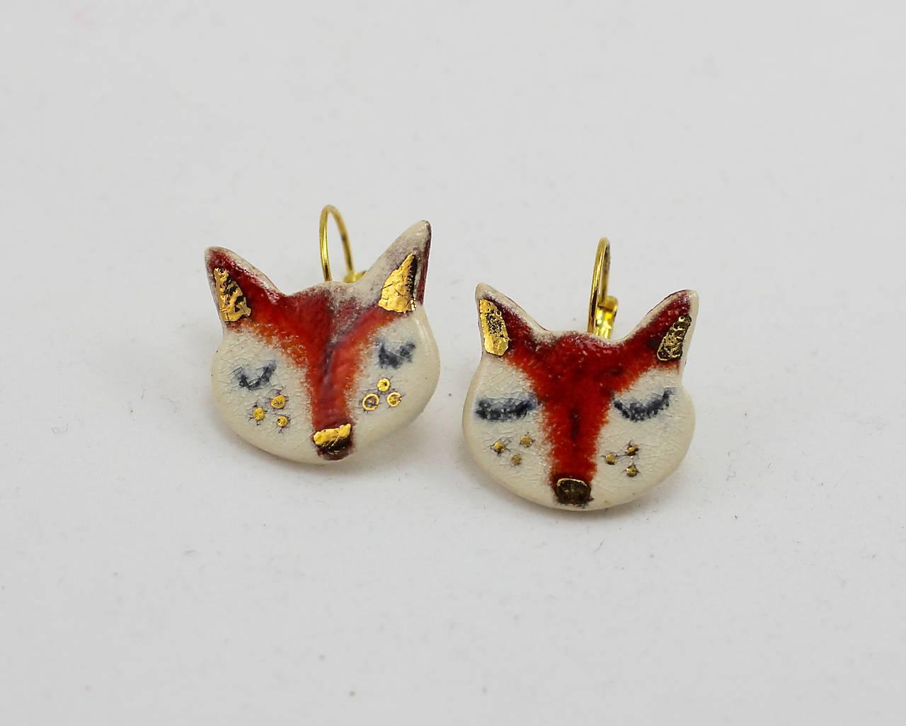 Naušničky -líštičky  keramika/zlato