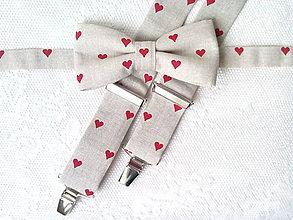 Doplnky - Valentínsky set (béžový/červené srdiečka) - 7969015_