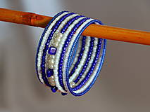 Náramky - Náramok námornícka modrá a biela - 7971314_