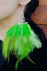 Náušnice - Naušnice - zelené - perie - 7968316_