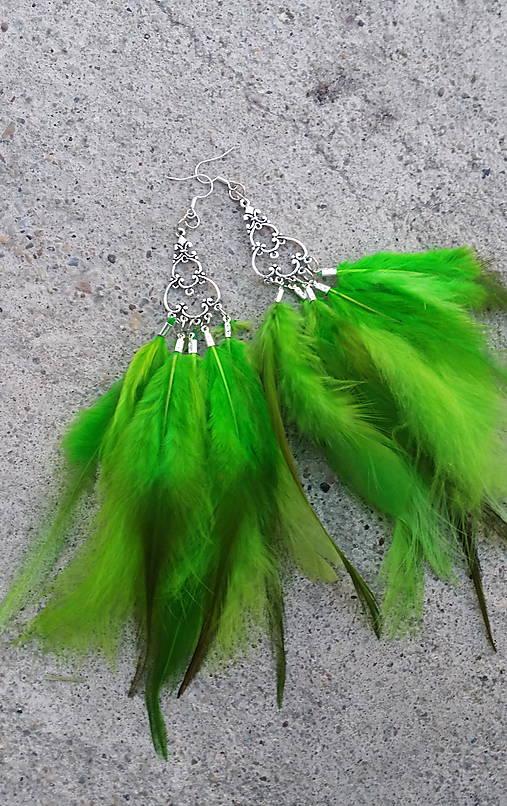 Naušnice - zelené - perie