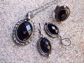 Sady šperkov - cínovaný náhrdelník + náušnice + prsteň - Ónyx - na objednávku - 7971054_