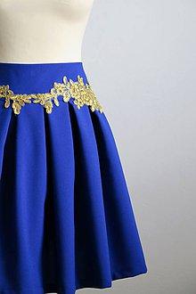 Sukne - modrá sukňa so zlatou čipkou - 7969392_