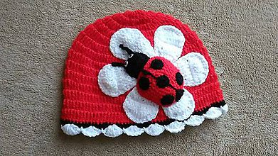 Detské čiapky - Jarná čiapočka s lienkou - 7970935_