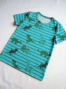 Detské oblečenie - Tričko modrozelené pruhy a dinosauři vel.92-128 - 7972413_