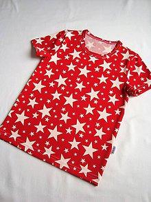 Detské oblečenie - Tričko červené s bílými hvězdami vel.92-128 - 7972495_