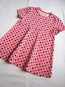 Detské oblečenie - Šaty růžové s puntíky vel.92 - 128 - 7972504_