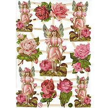 Papier - Viktoriánske obrázky - Ruže a ružové víly - 7968839_