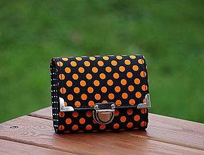 Peňaženky - Peněženka oranžový puntík, 8 karet, na fotky - 7969175_