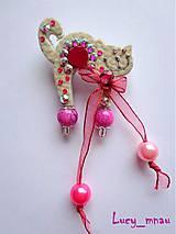 Odznaky/Brošne - Brošnička mačička bielo-ružová:) - 7968858_