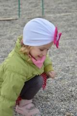 Detské čiapky - Turban čiapka biela s mašlou - 7972334_