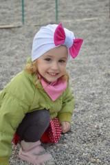 Detské čiapky - Turban čiapka biela s mašlou - 7972335_