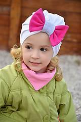 Detské čiapky - Turban čiapka biela s mašlou - 7972337_
