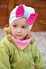 Detské čiapky - Turban čiapka biela s mašlou - 7972338_