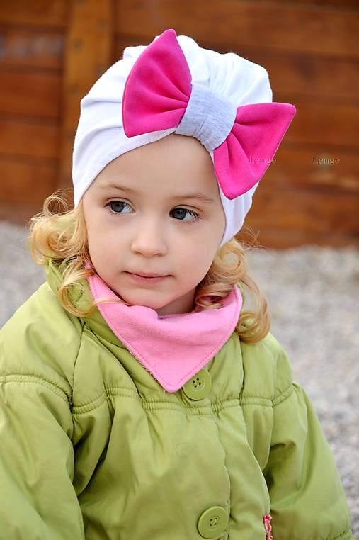 Turban čiapka biela s mašlou