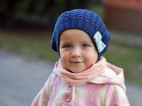 Detské čiapky - Jarná s mašľou: tmavomodrá - 7974646_