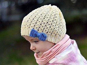 Detské čiapky - Jarná s mašľou: svetložltá - 7974696_