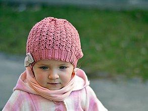 Detské čiapky - Jarná s mašľou: staroružová (Obvod do 40cm) - 7974712_