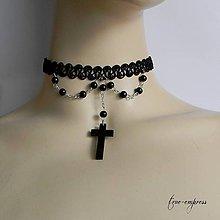 Náhrdelníky - Gotický obojok s krížikom - 7976665_