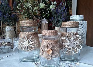Nádoby - recy natur jutové vázy - 7975727_
