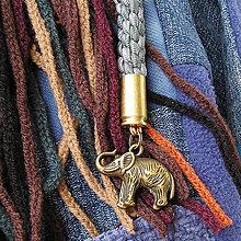 Kľúčenky - karabína s nábojnicami a príveskom Slon - 7975814_