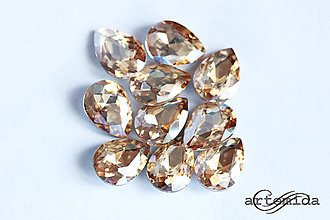 Komponenty - kabošon sklenený golden crystal drop 13x18 - 7976581_