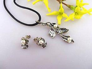 Sady šperkov - perly, striebro náušnice prívesok - lístočky - 7976115_