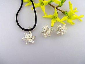 Sady šperkov - strieborné kvety - náušnice prívesok striebro Ag925/1000 - 7976264_