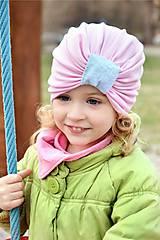 Detské čiapky - Turban čiapka ružová - 7976326_