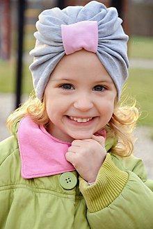 Detské čiapky - Turban čiapka sivá - 7973114_