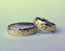 Prstene - dvojfarebné s lístkami - 7974368_