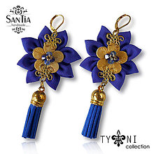 Náušnice - Náušnice: Kvety so strapcom (Modro-zlaté) - 7973824_