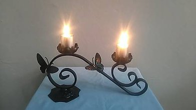 Svietidlá a sviečky - kovový svietnik motýle - 7978319_