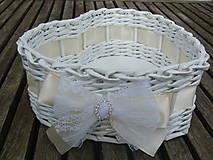 - Svadobný košíček - srdiečko menšie (so štrasom a čipkou ivory) - 7978305_