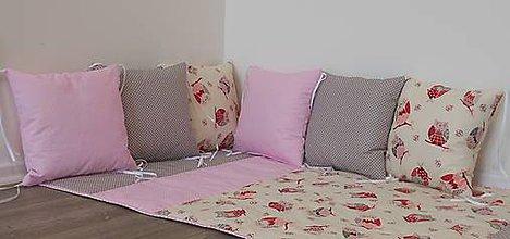 Textil - Vankúšiky- šeda,ružová a sovy - 7979203_