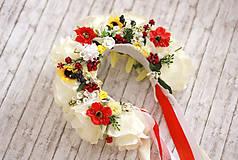 Ozdoby do vlasov - Ľudová kvetinová parta v bielom - 7980252_