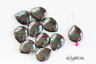Minerály - čierna perleťová slza plochá 15x18 - 7978275_