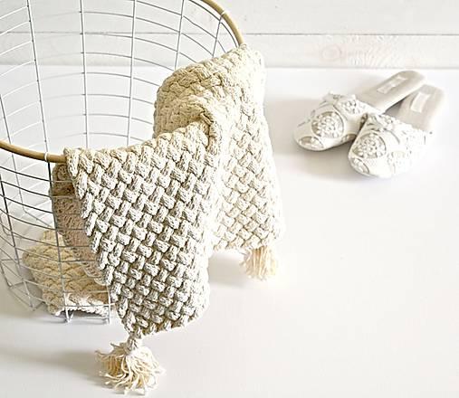 Úžitkový textil - Pletený koberček/predložka - 7978681_
