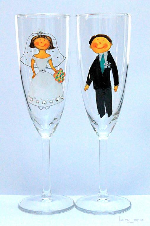 Svadobné poháre ♥ženích a nevesta♥