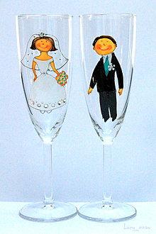 Darčeky pre svadobčanov - Svadobné poháre ♥ženích a nevesta♥ - 7979627_