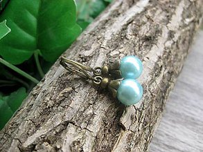 Náušnice - Perly v bronze (Svetlo modré perly v bronze č.827) - 7979596_