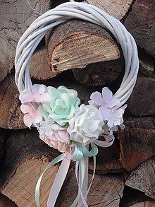 Dekorácie - Mini venček s ružami biela, pink, mint - 7979016_