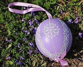 Dekorácie - Pštrosie fialové vajíčko ,zdobené voskom - 7977979_