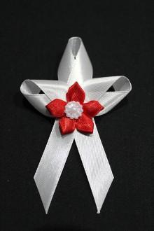 Pierka - Svadobné pierko - červený kvet - 7983378_