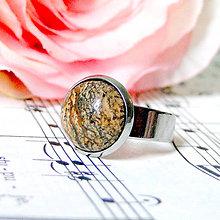 Prstene - Elegant Picasso Jasper Stainless Steel Ring / Elegantný prsteň s jaspisom picasso z chirurgickej ocele - 7983440_