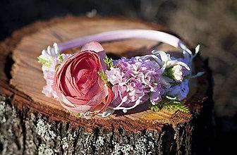 Ozdoby do vlasov - Jemne ružová s pivonkou-čelenka - 7983580_